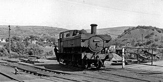 Heart of Wales line - GW/WR Pannier Tank in sidings of Tirydail Colliery, near Ammanford in 1962