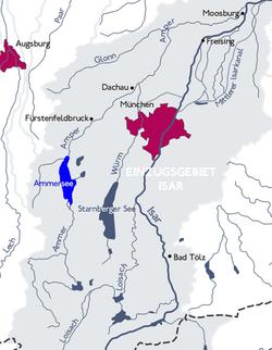 Lage des Sees im Großraum München, Zu- und Abflüsse im Einzugsbereich der Isar