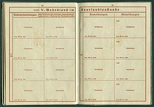 Amtsdokument Paul Fischer 1937 Leutnant Wehrpass Luftwaffe Seite 42 43 Wehrversammlungen Anmeldungen Abmeldungen.jpg