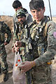 An Afghan National Army commando with the 4th Special Operations Kandak holds a bag of suspected homemade explosives confiscated from a camp during a reconnaissance patrol in the Shah Wali Kot district, Kandahar 140218-A-YF193-172.jpg