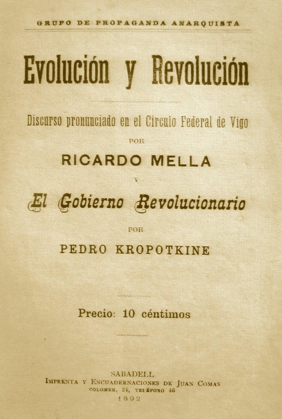 Anarquismo. 1892. Evolución e revolución. Ricardo Mella