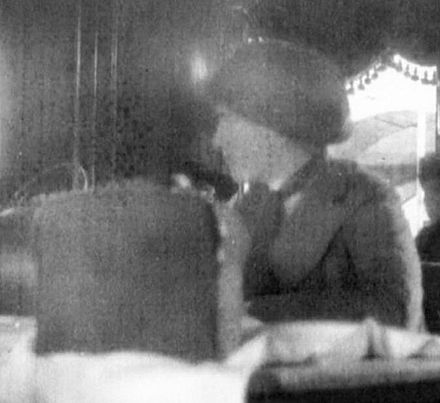 Grand Duchess Anastasia Nikolaevna of Russia aboard the Rus, the ship that ferried her to Yekaterinburg in May 1918. This is the last known photograph of Anastasia. AnastasiaRus.jpg