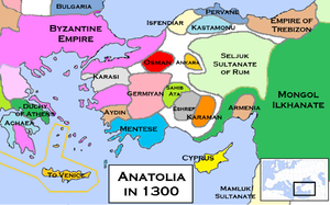 Anatolian beyliks - Beyliks and other states around Anatolia, c. 1300.