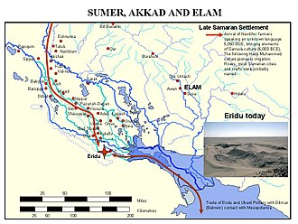 Sumer - The first farmers from Samarra migrated to Sumer, and built shrines and settlements at Eridu.