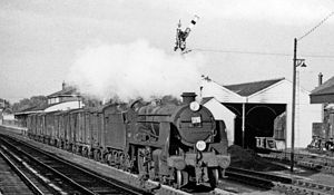 Andover railway station - Down freight in 1962