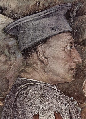 Square academic cap - Andrea Mantegna: Ludovico III Gonzaga (detail from the frescoes of the Camera degli Sposi, 1465–74).