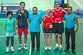 Ankara - BWF World Senior Badminton Championships - Sanne & Bill, victors over Hideo Yamamoto & Hiromi Mitsunaka (JPN ) 21-12, 21-14 in Rnd 1, MX 60 (with Umpire & Service Judge) (11077919845).jpg