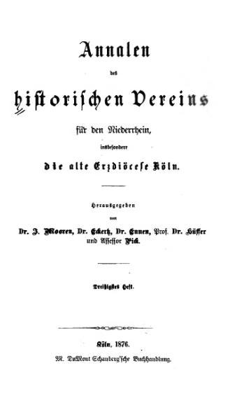 File:Annalen des Historischen Vereins für den Niederrhein 30 (1876).djvu
