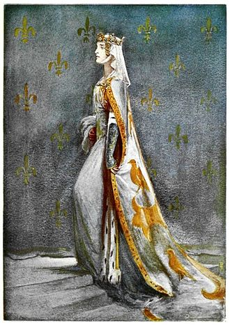 Anne of Bohemia - 14th century Queen of Richard II – Anne of Bohemia – illustration by Percy Anderson for Costume Fanciful, Historical and Theatrical, 1906.