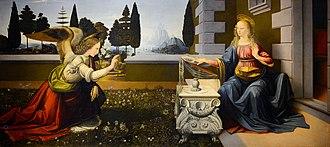 Lady Day - The Annunciation by Leonardo da Vinci (1472–1475) Uffizi Gallery.