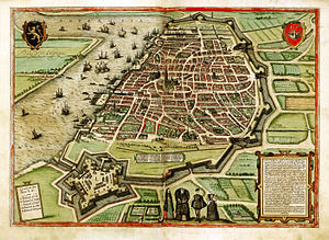 Battle of Borgerhout - Map of Antwerp with its defenses by Georg Braun and Frans Hogenberg, c. 1572–79