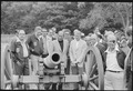 Anwar Sadat, Jimmy Carter and Menahem Begin examine a canon during a trip to the Gettysburg National Military Park. - NARA - 181177.tif