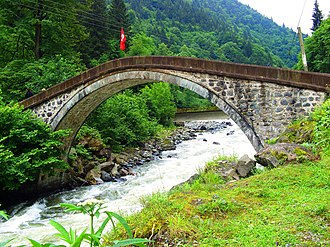 Çamlıhemşin - One of stone arch bridges over Hala Deresi which has been built in Ottoman Empire Era in the 19th century.