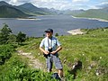 Archie on stalker's path to Gleouraich with Loch Quoich and the mountains of Knoydart - geograph.org.uk - 930644.jpg