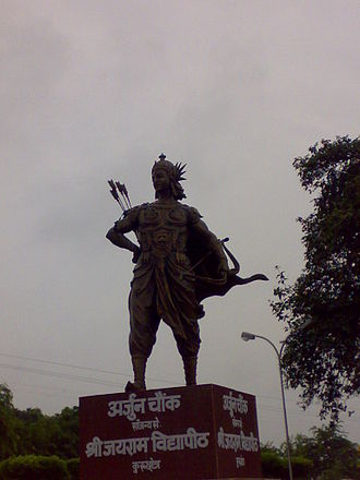 Kurukshetra - The majestic statue of Arjun at the Arjun Chowk.