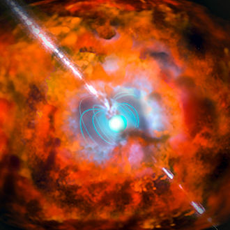Magnetar - Image: Artist's impression of a gamma ray burst and supernova powered by a magnetar