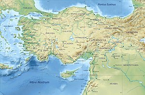 Lycaonia - Location of Lycaonia in Anatolia.