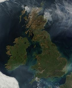 Satellite image of the British Isles, excluding Shetland (out of frame)