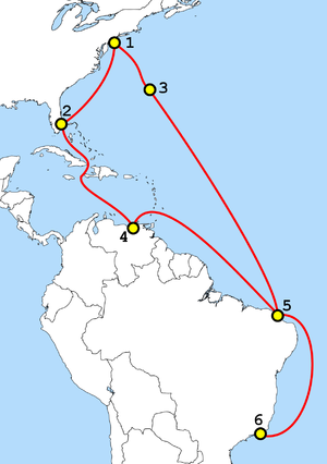 Internet in Cuba - GlobeNet, a submarine telecommunications cable of 2001, passing Cuba
