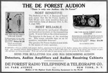 Audion advertisement, Electrical Experimenter magazine, 1916