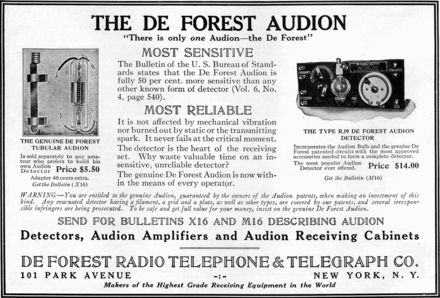 Audion advertisement, Electrical Experimenter magazine, August 1916 Audion vacuum tube advertisement.png