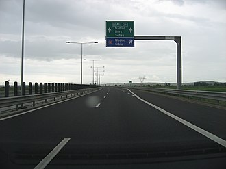 A1 motorway (Romania) - A1 motorway Sibiu bypass section – A1/DN14 node at km 246 (westbound view)