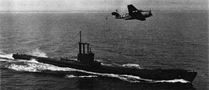 Amphion-class submarine - Image: Avenger AS3 over HMS Artful