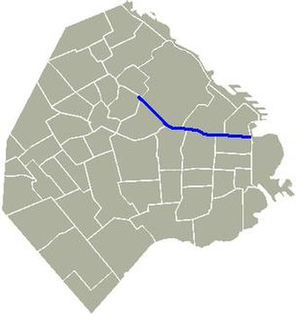Avenida Córdoba - Location of Córdoba Avenue in Buenos Aires.