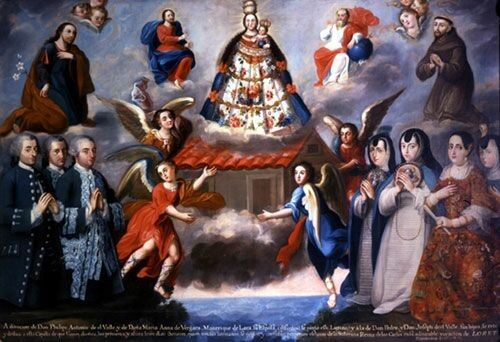 Ayala La familia del Valle a los pies de la Virgen de Loreto
