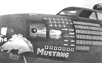 """403d Bombardment Squadron - B-17F Fortress 41-24554 """"Mustang"""", flew with the 403d Bombardment Squadron, 43rdd Bombardment Group in Australia and New Guinea. It completed 109 missions and claimed 17 Japanese aircraft before being returned to the United States as War-Weary in late 1943."""