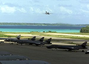 Naval Support Facility Diego Garcia - B-1B Lancer bombers on Diego Garcia in November 2001 during the Afghanistan bombing campaign