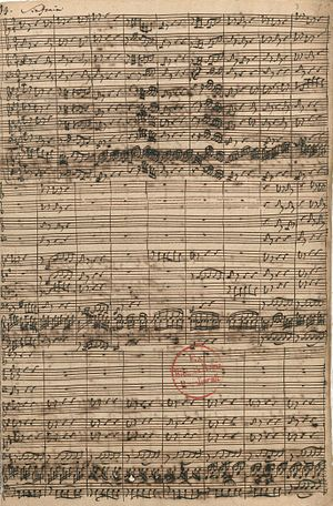 Wir danken dir, Gott, wir danken dir, BWV 29 - The first page of the autograph manuscript, Sinfonia