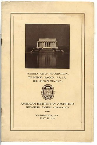 Henry Bacon - Program from AIA Gold Medal Award honoring architect Henry Bacon, 1923