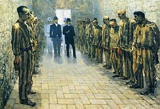 Carmine Crocco - Portrait of Crocco (first on the right) during his imprisonment in Portoferraio