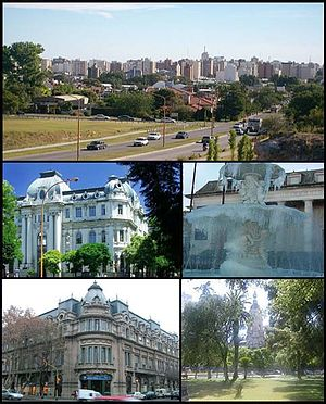 (From top to bottom; from left to right) Panorama of the city; Banco Nación; Fountain by Lola Mora; Club Argentino and Rivadavia Plaza and City Hall.