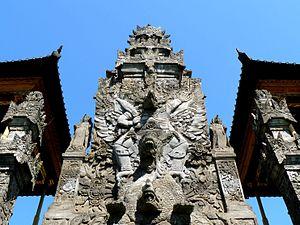 Pura Meduwe Karang - Floral decoration typical of North Bali decorates the main shrine of Pura Meduwe Karang.