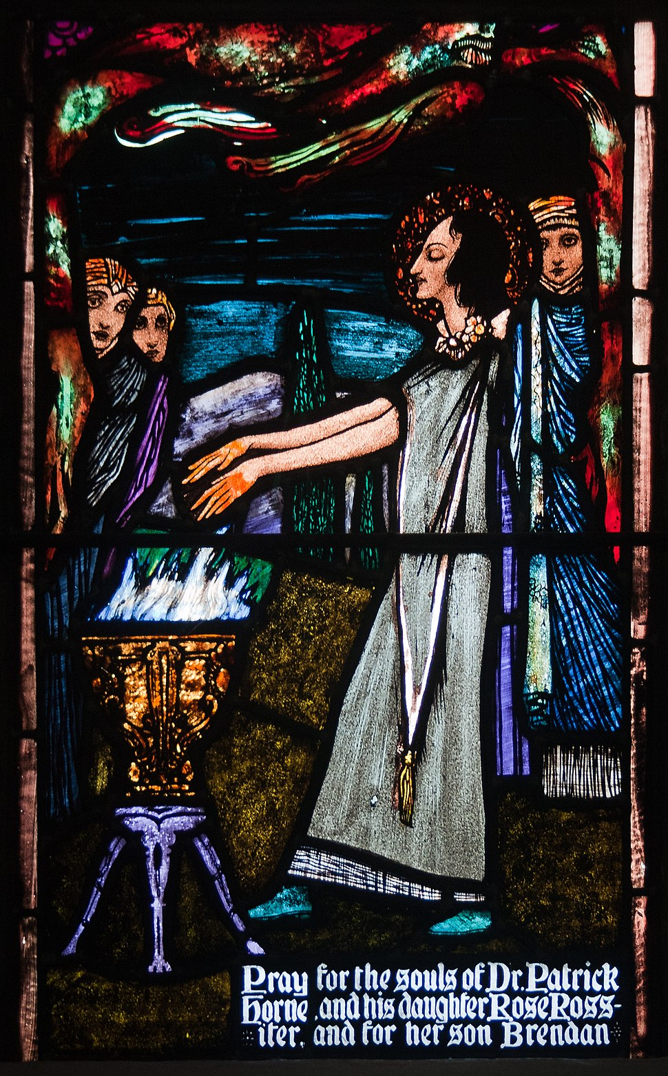 Ballinasloe St. Michael's Church South Aisle Fifth Window Sts Patrick and Rose of Lima by Harry Clarke Detail St Rose Burning Her Hands 2010 09 15
