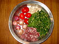 Bamje ingredients before cutting.JPG