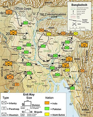 Indo-Pakistani War of 1971 - Illustration showing military units and troop movements during operations in the Eastern sector of the war.