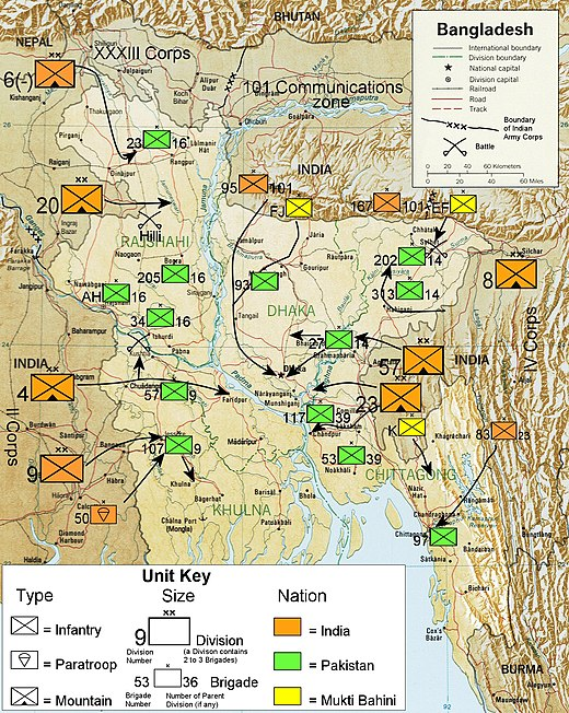 Illustration showing military units and troop movements during the war Bangladesh 1971 Liberation.jpg