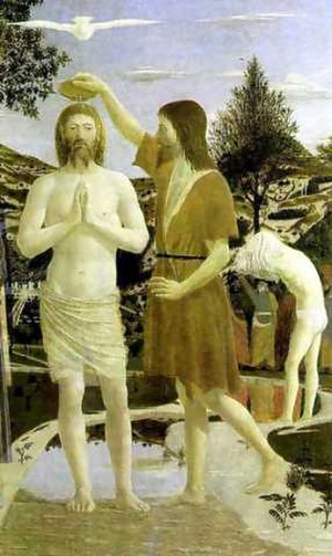 Doves as symbols - Baptism of Christ, by Francesca, 1449