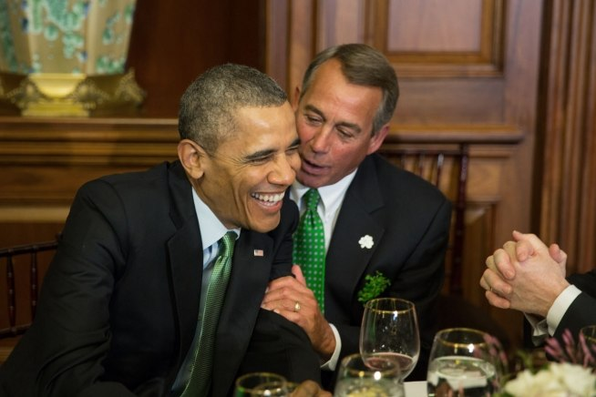 Barack Obama and John Boehner enjoying Saint Patrick%27s Day 2014