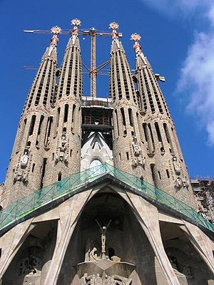 Sagrada Família by Antoni Gaudi, hyperboloid d...