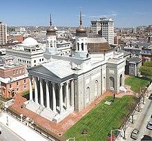 Luchtfoto van de Baltimore Basilica
