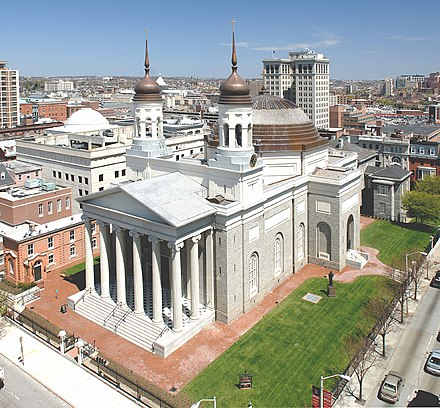 The Baltimore Basilica was the first Catholic cathedral built in the U.S.. BasilicaExterior.jpg
