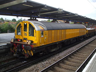 A London Underground battery-electric locomotive at West Ham station used for hauling engineers' trains Battery loco 16 at West Ham.JPG