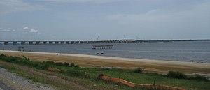 St. Louis Bay Bridge - Image: Bay St Louis July 07Bridge Bay Piers