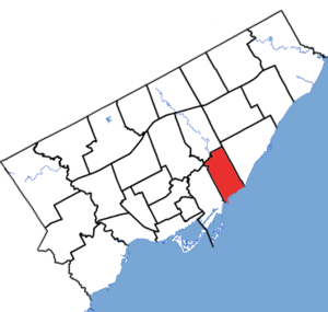 Beaches—East York - Beaches—East York in relation to other electoral districts in Toronto (2013 boundaries)
