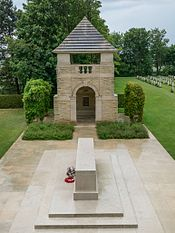 One of the watchtowers at Bény-sur-Mer Canadian War Cemetery