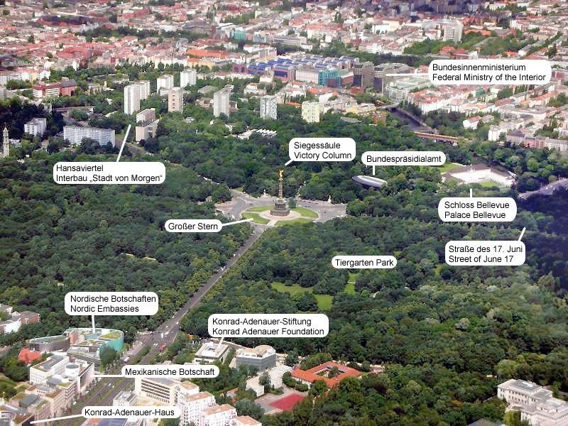 Berlin Tiergarten Luftansicht Commented